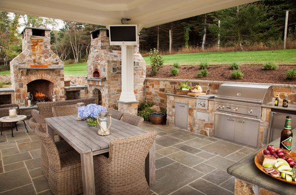 открытая кухня на заднем дворе