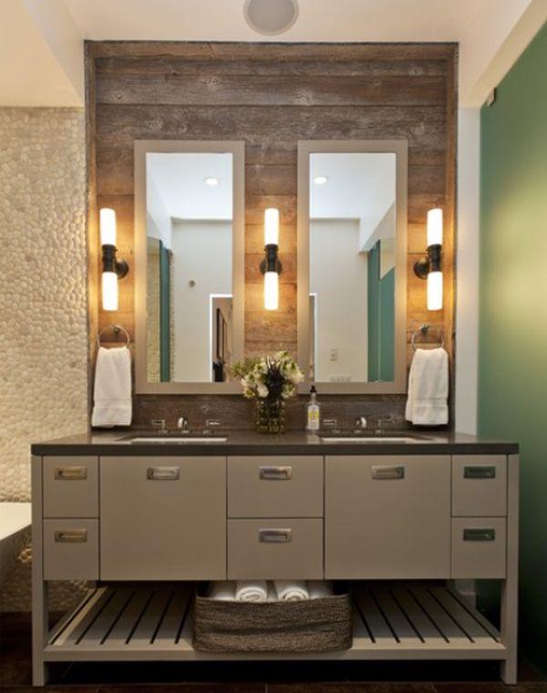 декор ванной переработанной древесиной