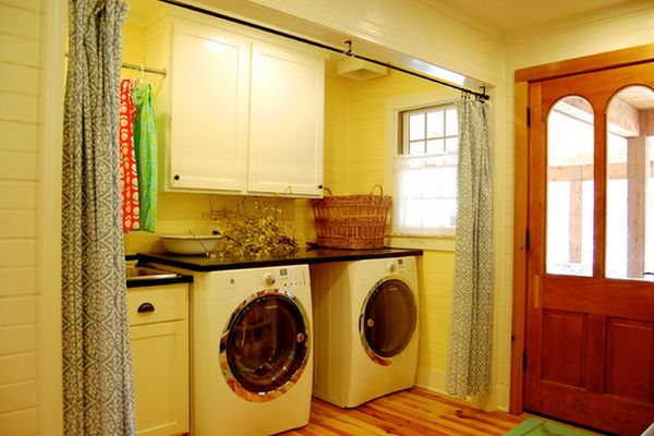 использование занавесок в ванной
