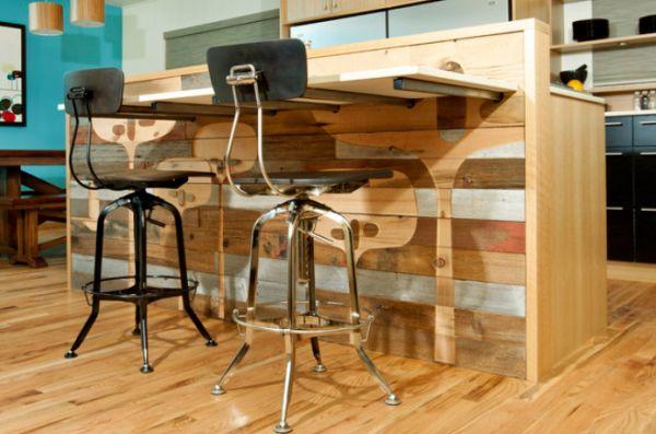 переработання древесина в дизайне кухни