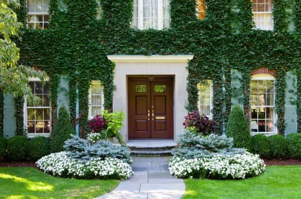Как красиво обсажен этот дом.