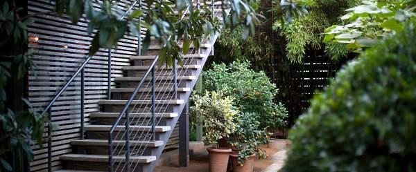 Растения в горшках являются выделяющимся элементом в отеле San Jose в г. Остине
