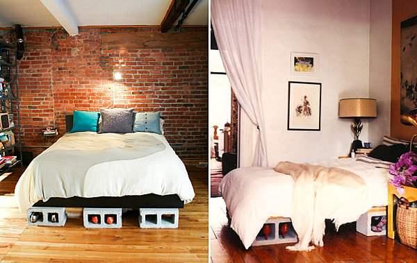Кровати из шлакоблоков могут служить местом для хранения обуви