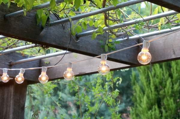 Терраса с вьющимися растениями обеспечивает тень днем и прикрытие ночью