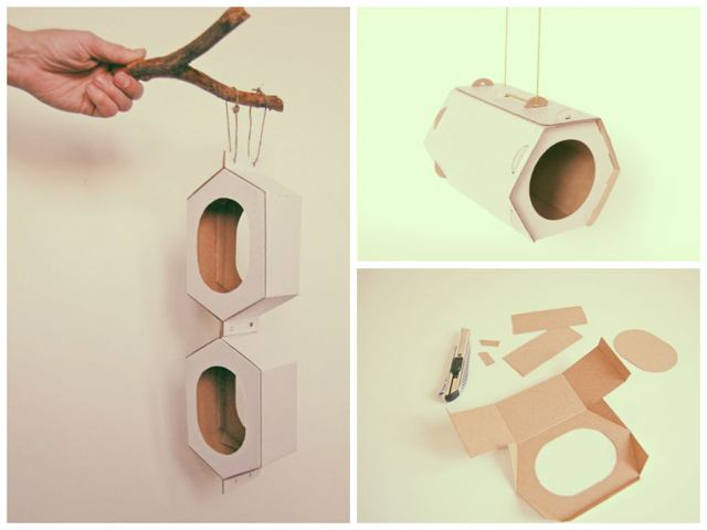 кормушка для птиц из картона