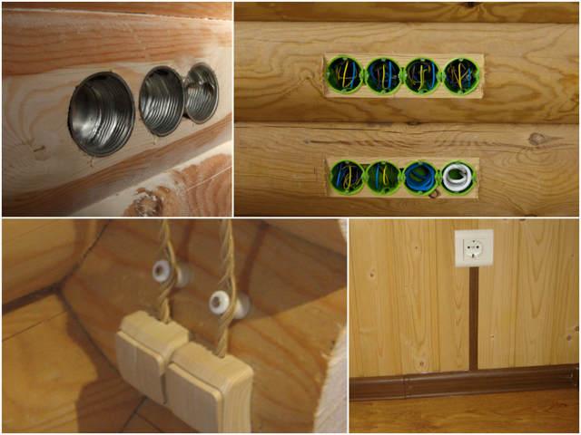 розетки в деревянном доме