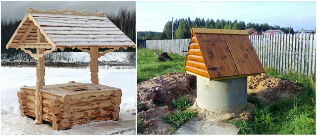 Деревянный и бетонный колодец