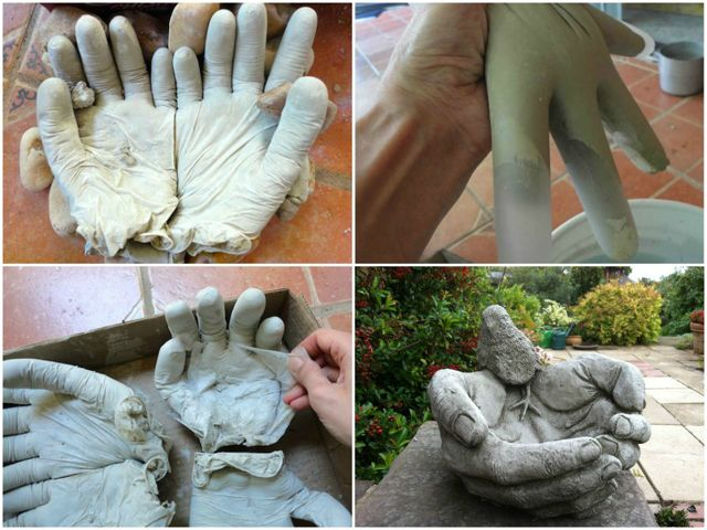 Руки из бетона для сада