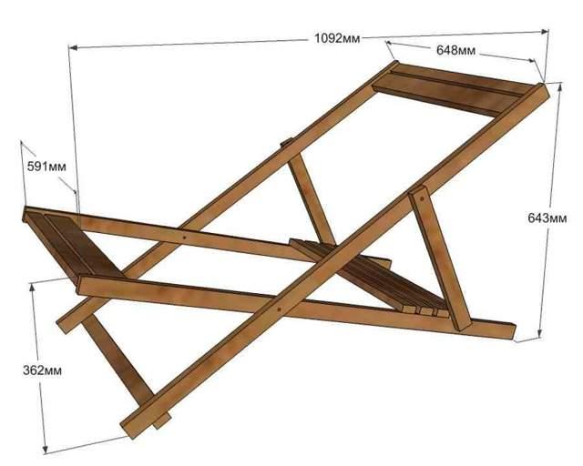 Размеры деревянного шезлонга