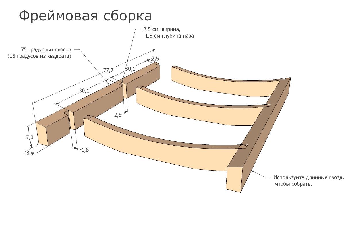 Схема решетчатого шезлонга
