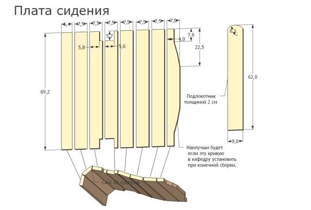 Схема сиденья шезлонга