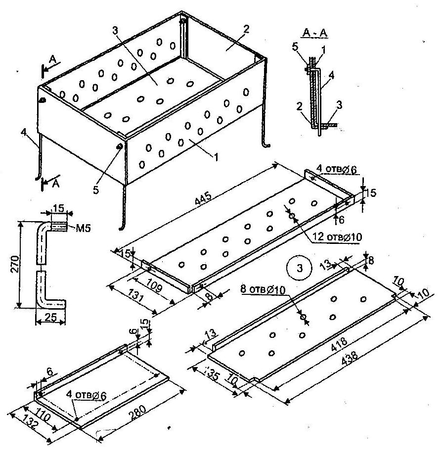 схема разборного мангала из металла