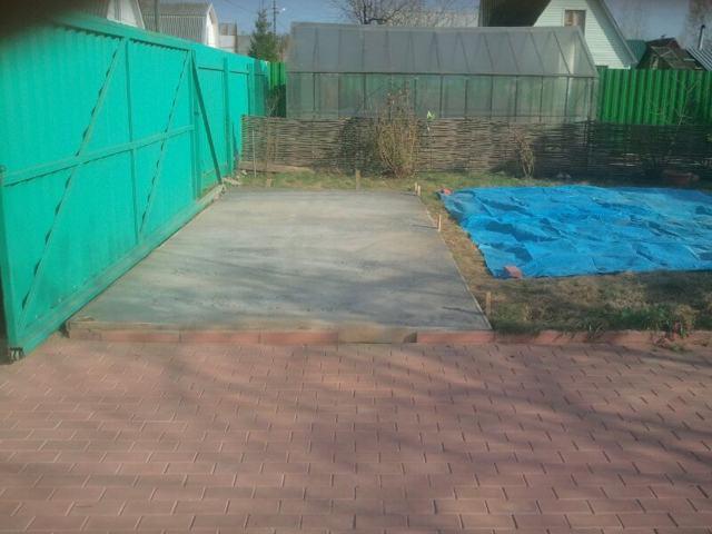 Бетонная площадка для бани бочки