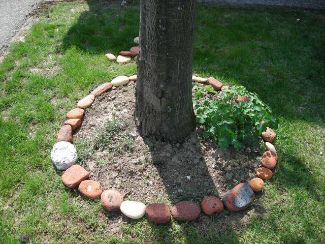 Обрамление бордюр клумбы камнем