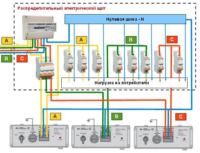 Схема подключения стабилизатора в трехфазной сети