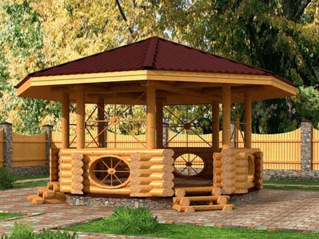 Круглая крыша на беседке