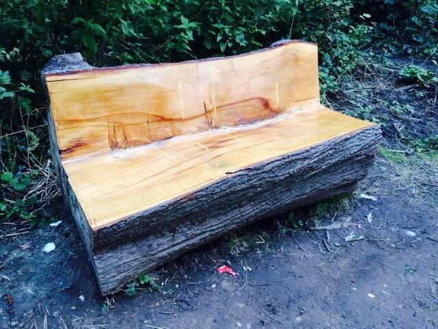 Скамейка из цельного дерева